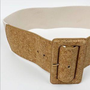 ARDEN B Cork Stretch Belt Off White Medium Large
